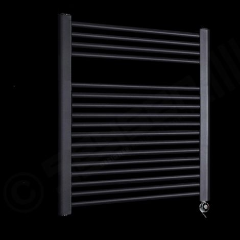 Bisque Deline Volcanic Anthracite Short Thermostatic Electric Towel Rail - 786mm high x 600mm wide