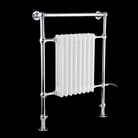 EX-DISPLAY Canterbury Electric Traditional Victorian Chrome Towel Radiator (Slimline Towel Bar) - 963mm high x 538mm wide