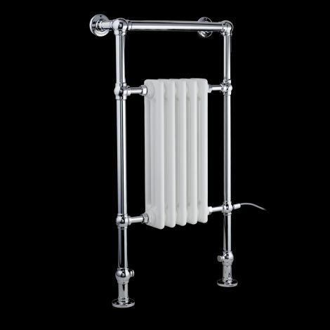 Canterbury Electric Traditional Victorian Chrome Towel Radiator (Slimline Towel Bar) - 963mm high x 538mm wide