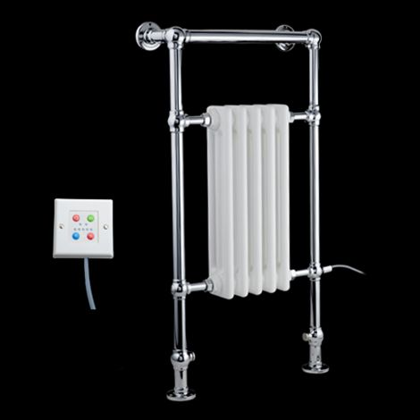 Canterbury Thermostatic Electric Traditional Victorian Chrome Towel Radiator (Slimline Towel Bar) - 963mm high x 538mm wide