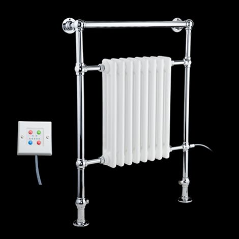 EX-DISPLAY Canterbury Thermostatic Electric Traditional Victorian Chrome Towel Radiator (Slimline Towel Bar) - 963mm high x 673mm wide