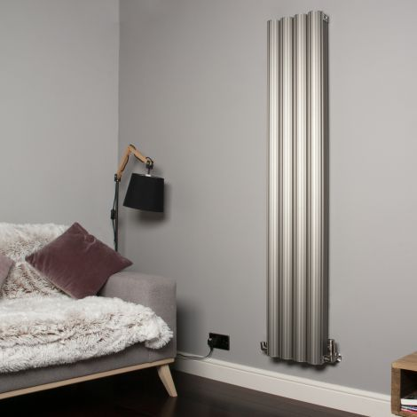 Venn Champagne Gold Vertical Tall Skinny Designer Radiator - 1750mm high x 320mm wide