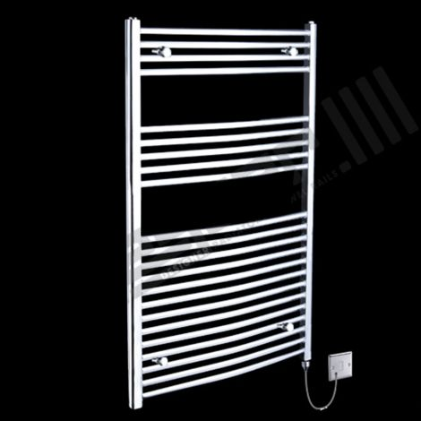 Chrome Curved Ladder Wide Electric Towel Rail 1150mm high x 750mm wide