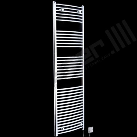 Chrome Curved Ladder Tall Electric Towel Rail 1700mm high x 500mm wide