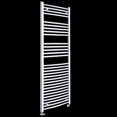 Chrome Curved Ladder Tall Heated Towel Rail 1800mm high x 500mm wide