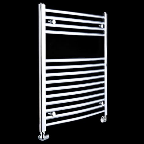 Chrome Curved Ladder Slim Heated Towel Rail 800mm high x 450mm wide