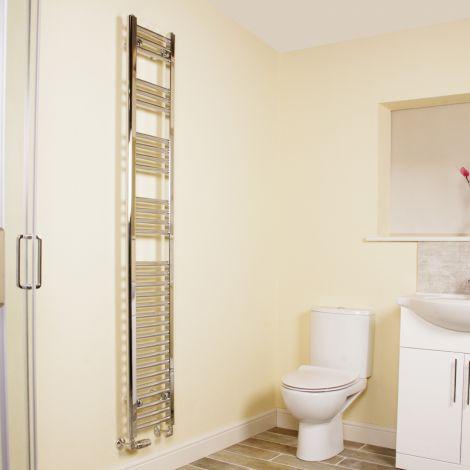 Chrome Curved Ladder Tall Heated Towel Rail 1800mm high x 300mm wide