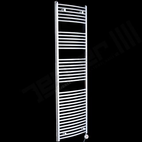 Chrome Curved Ladder Tall Thermostatic Electric Towel Rail 1700mm high x 500mm wide