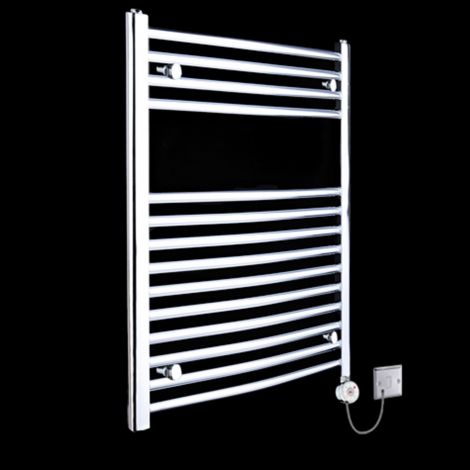 Chrome Curved Ladder Thermostatic Electric Towel Rail 800mm high x 500mm wide