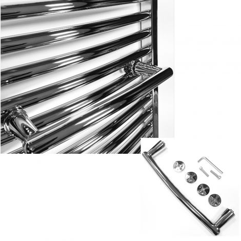 Chrome Curved Towel Rail Attachment For 400mm+ Wide Heated Towel Rails