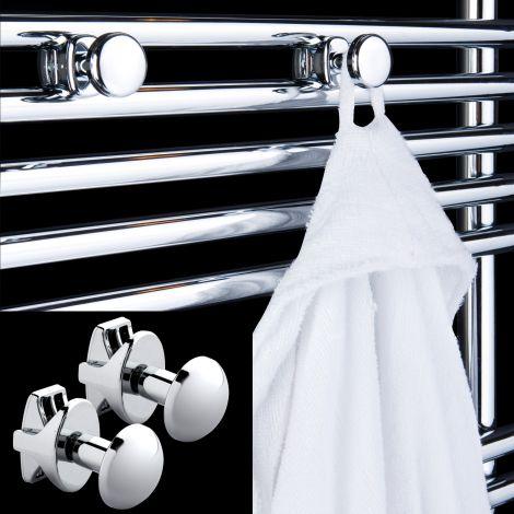 Pair Button Shaped Towel Rail Robe Hooks - Chrome
