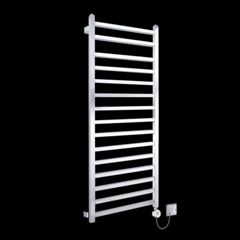 Chrome Squares Tall Ladder Thermostatic Electric Towel Rail 1600mm high x 500mm wide