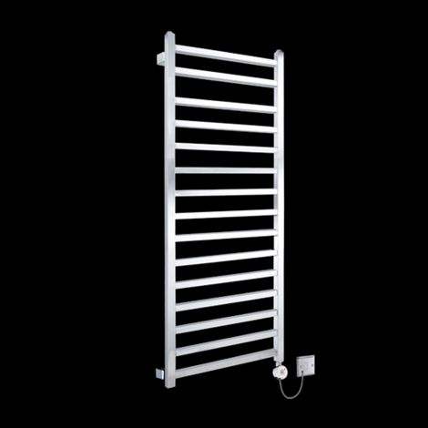 Chrome Squares Large Tall Ladder Thermostatic Electric Towel Rail 1600mm high x 600mm wide
