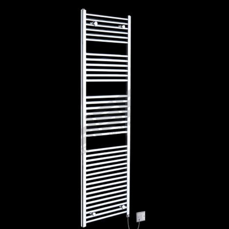Chrome Straight Ladder Tall Electric Towel Rail 1760mm high x 500mm wide