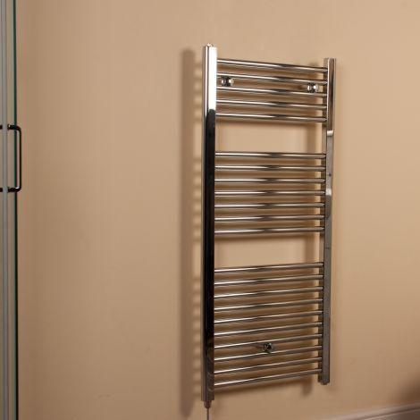 Chrome Straight Ladder Electric Towel Rail 1100mm high x 500mm wide