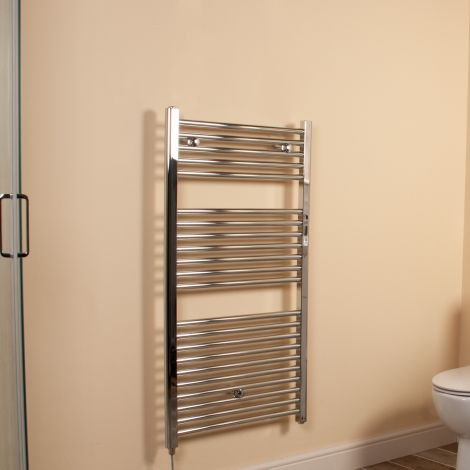 Chrome Straight Ladder Electric Towel Rail 1100mm high x 600mm wide
