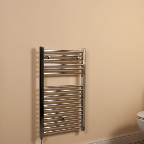 Chrome Straight Ladder Compact Electric Towel Rail 800mm high x 500mm wide