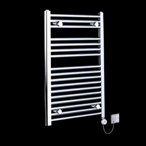 Chrome Straight Ladder Electric Towel Rail 800mm high x 500mm wide