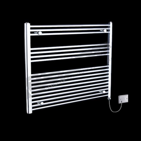 Chrome Straight Ladder Electric Towel Rail 900mm high x 900mm wide
