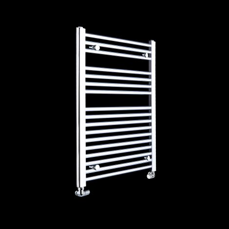Chrome Straight Ladder Heated Towel Rail 800mm high x 500mm wide