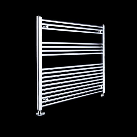 Chrome Straight Ladder Heated Towel Rail 900mm high x 900mm wide