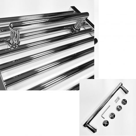 Chrome Straight Towel Rail Attachment For 400mm+ Wide Heated Towel Rails
