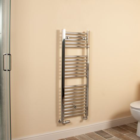 Chrome Straight Ladder Slim Space Saving Heated Towel Rail 1100mm high x 400mm wide