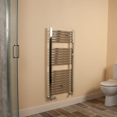Chrome Straight Ladder Heated Towel Rail 1100mm high x 500mm wide