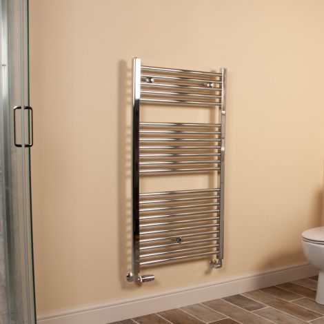 Chrome Straight Ladder Heated Towel Rail 1100mm high x 600mm wide