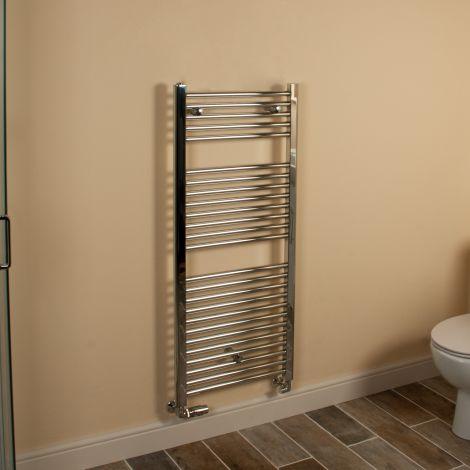 Chrome Straight Ladder Heated Towel Rail 1200mm high x 500mm wide