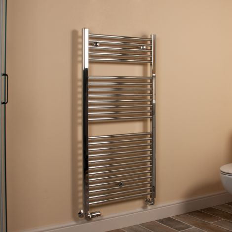 Chrome Straight Ladder Heated Towel Rail 1200mm high x 600mm wide