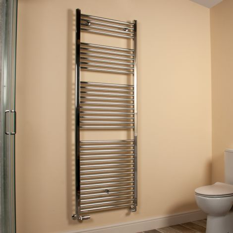 Chrome Straight Ladder Tall Large Heated Towel Rail 1700mm high x 600mm wide