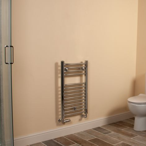 Chrome Straight Ladder Short Thin Heated Towel Rail 700mm high x 400mm wide