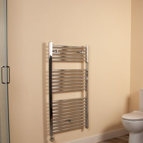 Chrome Straight Ladder Thermostatic Electric Towel Rail 1100mm high x 600mm wide