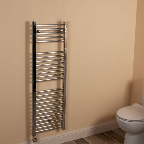 Chrome Straight Ladder Slim Space Saving Thermostatic Electric Towel Rail 1200mm high x 400mm wide