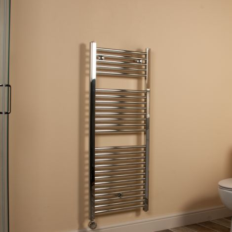 Chrome Straight Ladder Thermostatic Electric Towel Rail 1200mm high x 500mm wide