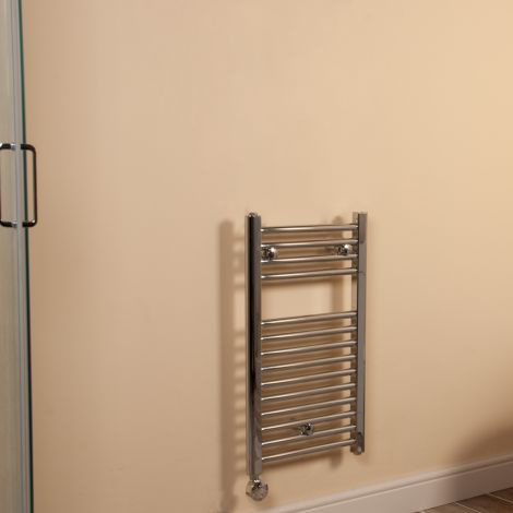 Chrome Straight Ladder Short Thin Thermostatic Electric Towel Rail 700mm high x 400mm wide