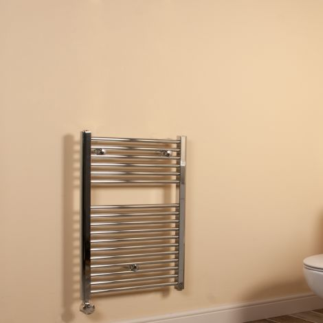 Chrome Straight Ladder Compact Thermostatic Electric Towel Rail 800mm high x 500mm wide