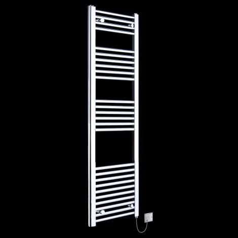 Chrome Straight Ladder Tall Slim Electric Towel Rail 1600mm high x 400mm wide