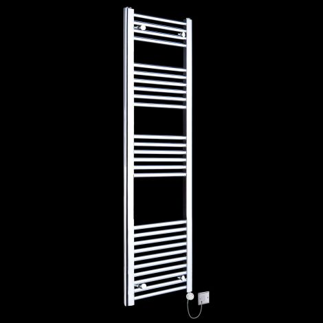 Chrome Straight Ladder Tall Slim Thermostatic Electric Towel Rail 1600mm high x 400mm wide