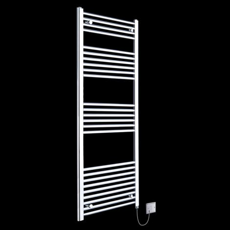 Chrome Straight Ladder Tall Electric Towel Rail 1600mm high x 500mm wide