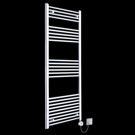 Chrome Straight Ladder Tall Thermostatic Electric Towel Rail 1600mm high x 500mm wide