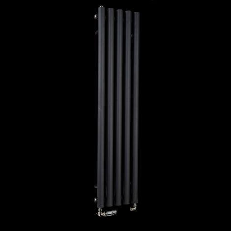 Circolo Thin Black Designer Radiator 1200mm high x 260mm wide