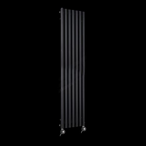 Circolo Tall Thin Black Electric Radiator 1800mm high x 370mm wide