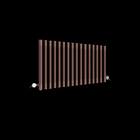 Circolo Space Saving Chocolate Brown Electric Radiator 500mm high x 865mm wide
