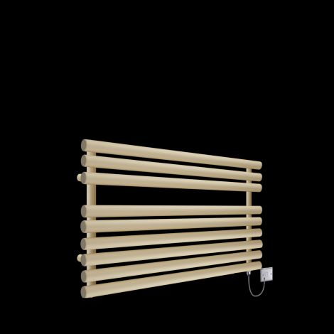 Cirtowelo  Light Cream Short Low Level Electric Towel Rail 600mm high x 900mm wide