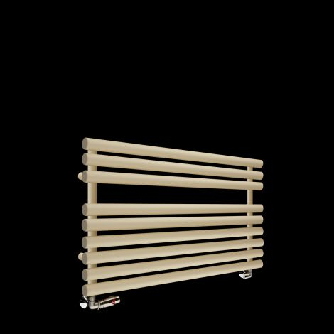 Cirtowelo Light Cream Short Low Level Heated Towel Rail 600mm high x 900mm wide