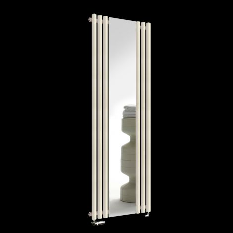 Circolo Light Cream Designer Mirror Radiator 1800mm high x 590mm wide