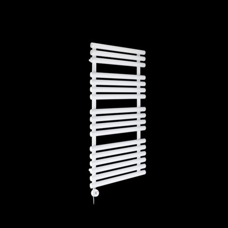 Cirtowelo White Thermostatic Electric Towel Rail 1085mm high x 520mm wide