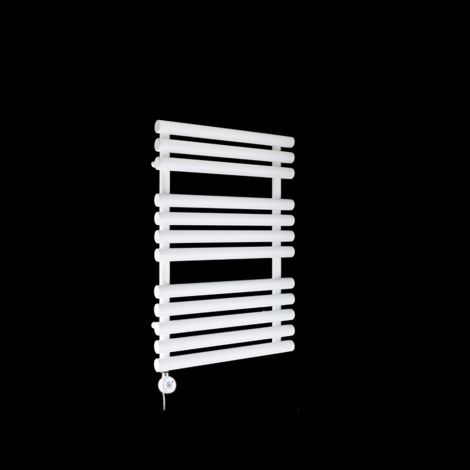 Cirtowelo White Compact Thermostatic Electric Towel Rail 755mm high x 520mm wide